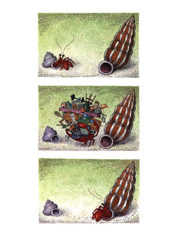 john-o-brien-two-column-color-cartoon-showing-crab-in-a-small-shell-walking-towards-a-b-new-yorker-cartoon